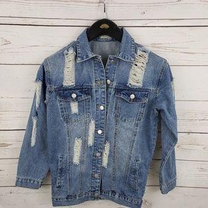 Womens distressed Jean denim jacket